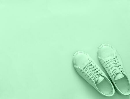 Green leather sneakers on green background. Pair of fashion trendy green sport shoes or sneakers with copy space for text or design. Overhead shot of new green sneakers,monochrome.Top view or flat lay