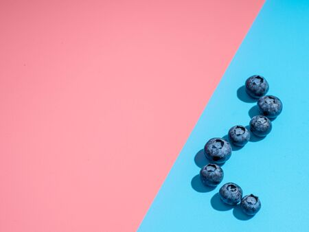 Blueberry on duotone background. Minimalistic concept. Blueberries on pink and blue background in hard light. Copy space for text or design. 写真素材