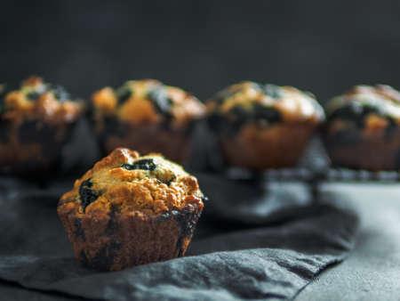 Homemade blueberry muffins on dark background.