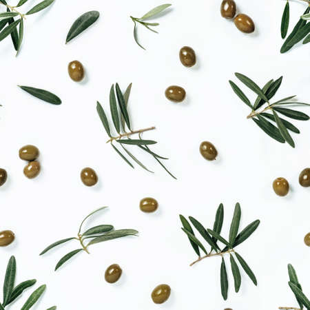 seamless pattern with green olive and branches