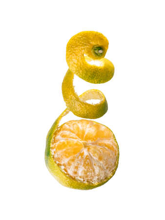 Fresh ripe green mandarine with spiral zest