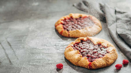 Raspberry galette or raspberries rustic tart