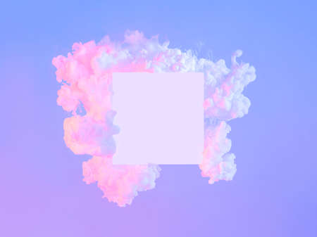 White square in neon clouds, copy space. Abstract Stock fotó