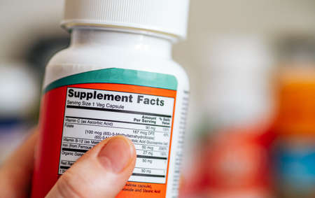 Supplement Facts on jar of multivitamin complex