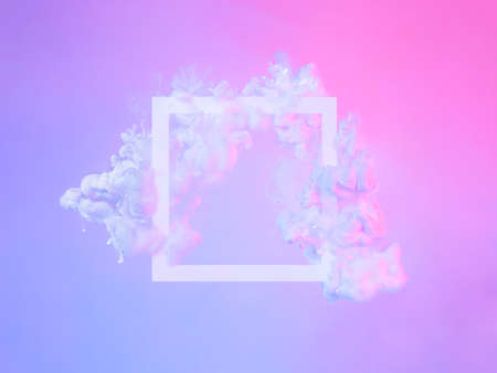 White frame in neon clouds, copy space. Abstract