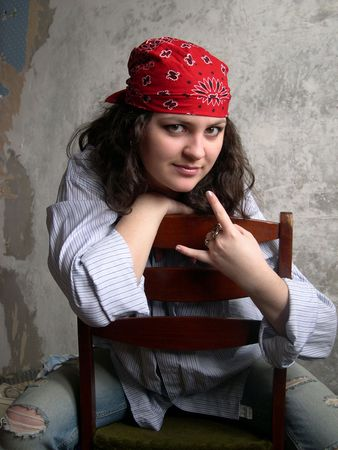 bandana girl: Portrait of the girl in red bandana