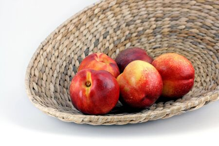 wattled: Wattled bowl with nectarines