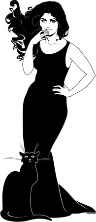 jpg: illustration of lady in black with cat.  Large JPG included