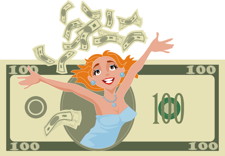 woman with lots of money Stock Vector - 4538573
