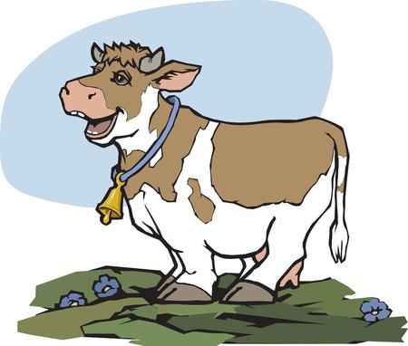 cow vector: Cartoon cheerful happy cow on a green meadow