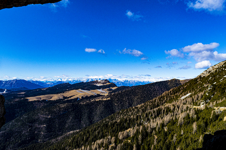 beautiful panorama of top Mandriolo in Asiago, in the Italian Alps on a sunny end of winter