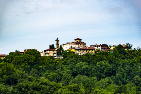 Monteviale on the hills of Vicenza, Italy. From the plain you can see the church and the bell tower
