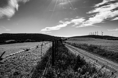 barbed wire along an endless path with wind turbine summarize the ecological difficulty that we experience