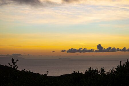 spectacular sunset illuminates the Indian Ocean and the Seychelles islands