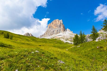green pastures on the meadows of the Dolomites near Cortina, rise towards the cloudy summer sky