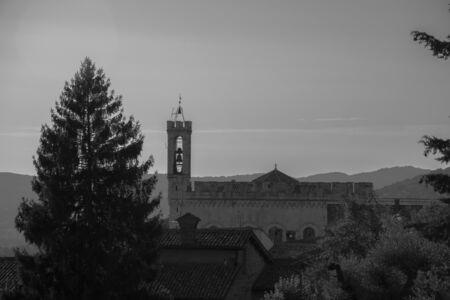 View of Palazzo dei Consoli a medieval building facing the scenic Piazza Grande in Gubbio Umbria central Italy