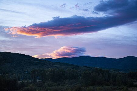 Wonderful sunrise from the window of a hotel in Steamboat Colorado on a late summer day Stockfoto