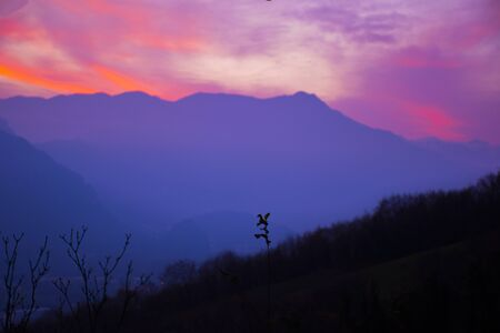 exciting sunset in the Vicenza pre-Alps photographed from Caltrano, Vicenza, Veneto, Italy