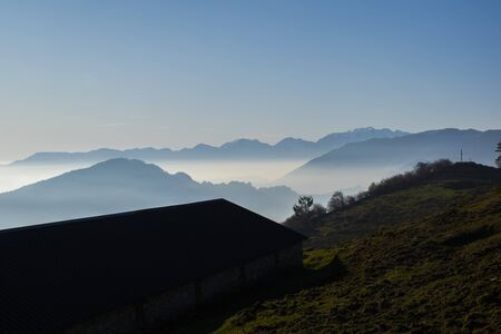 silhouette of the Vicenza mountains seen from Malga Sunio in Caltrano, Vicenza, Veneto, Italy