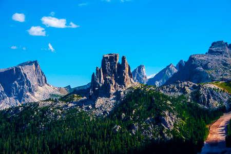 the Cinque Torri seen from the Tofana di Rozes in the Dolomites of Cortina D'ampezzo in Belluno, Veneto, Italy