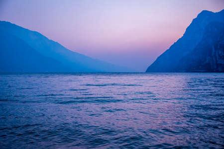 the moment before sunset on Lake Garda, Trento, Italy