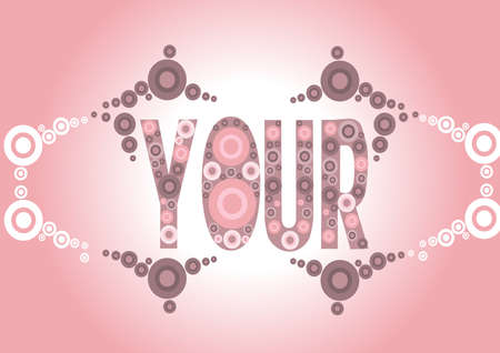 aphorism: In the center of a gleaming candy pink of the stylized font on your design is seen  quantity in different sizes and colors embellished with different composition come together in a design  Illustration