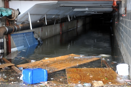 BROOKLYN, NY - OCTOBER 29  Seriouse flooding in the buildings at the Sheapsheadbay neighborhood due to impact from Hurricane Sandy in Brooklyn, New York, U S , on Tuesday, October 30, 2012