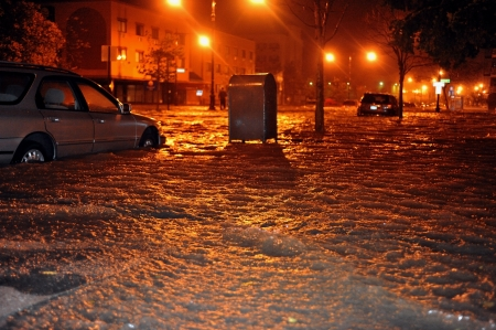 BROOKLYN, NY - OCTOBER 29: Flooded cars, caused by Hurricane Sandy, are seen on October 29, 2012, in the corner of Brigham street and  Emmons Avenue of Brooklyn NY, United States. Hurricane Sandy, which threatens 50 million people in the eastern third of