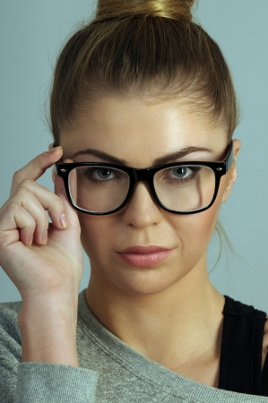 portrait of beautiful blond woman in glasses Zdjęcie Seryjne