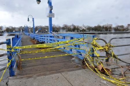hurricane sandy: BROOKLYN, NY - OCTOBER 29: Bridge closed in the Sheapsheadbay neighborhood due to flooding from Hurricane Sandy in Brooklyn, New York, U.S., on Tuesday, October 30, 2012.