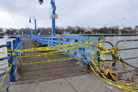 BROOKLYN, NY - OCTOBER 29: Bridge closed in the Sheapsheadbay neighborhood due to flooding from Hurricane Sandy in Brooklyn, New York, U.S., on Tuesday, October 30, 2012.