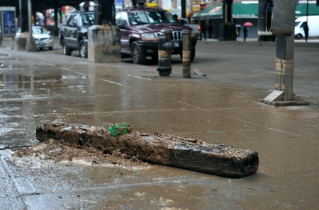 BROOKLYN, NY - OCTOBER 29: Debris litters the ground in the Sheapsheadbay neighborhood due to flooding from Hurricane Sandy in Brooklyn, New York, U.S., on Tuesday, October 30, 2012.