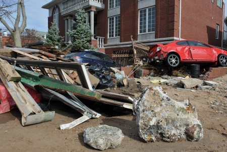 BROOKLYN, NY - NOVEMBER 01: Serious damage in the buildings nd cars at the Seagate neighborhood due to impact from Hurricane Sandy in Brooklyn, New York, U.S., on Thursday, November 01, 2012. Stock Photo - 16816879