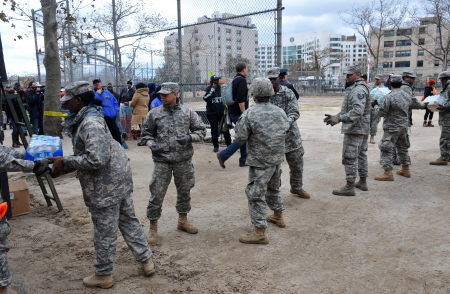 BROOKLYN, NY - NOVEMBER 01: US army helps peoples at the Seagate neighborhood wit Water and food due to impact from Hurricane Sandy in Brooklyn, New York, U.S., on Thursday, November 01, 2012.   Stock Photo - 16816883
