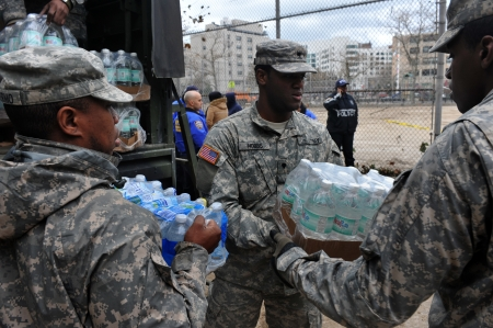 BROOKLYN, NY - NOVEMBER 01: US army helps peoples at the Seagate neighborhood wit Water and food due to impact from Hurricane Sandy in Brooklyn, New York, U.S., on Thursday, November 01, 2012.   Stock Photo - 16816731