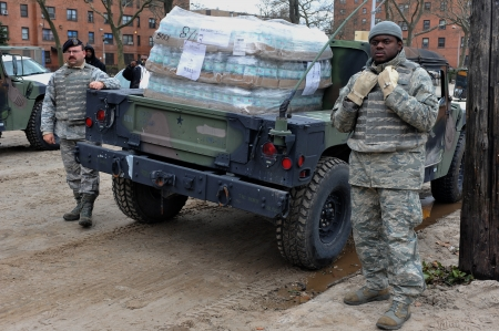 BROOKLYN, NY - NOVEMBER 01: US army helps peoples at the Seagate neighborhood wit Water and food due to impact from Hurricane Sandy in Brooklyn, New York, U.S., on Thursday, November 01, 2012.   Stock Photo - 16816859