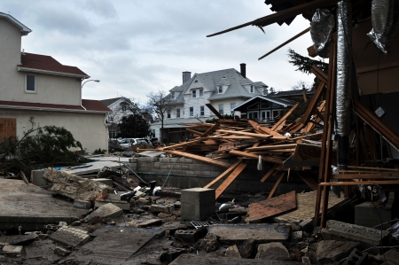 BROOKLYN, NY - NOVEMBER 01: Serious damage in the buildings at the Seagate neighborhood due to impact from Hurricane Sandy in Brooklyn, New York, U.S., on Thursday, November 01, 2012. Stock Photo - 16816785