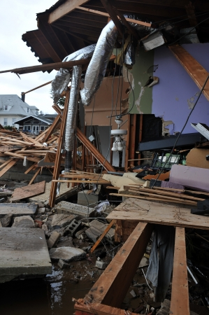 BROOKLYN, NY - NOVEMBER 01: Serious damage in the buildings at the Seagate neighborhood due to impact from Hurricane Sandy in Brooklyn, New York, U.S., on Thursday, November 01, 2012. Stock Photo - 16816740