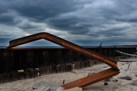 BROOKLYN, NY - NOVEMBER 01: Serious damage in the metal construction of  buildings at the Seagate neighborhood due to impact from Hurricane Sandy in Brooklyn, New York, U.S., on Thursday, November 01, 2012.   Stock Photo - 16816757