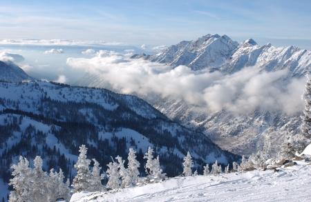 Bergen uitzicht vanaf top van Snowbird ski resort, Utah Stockfoto