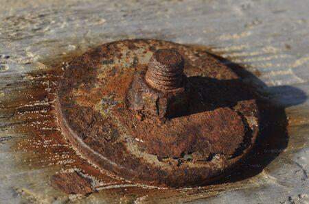 Rusty nut on wood surface photo