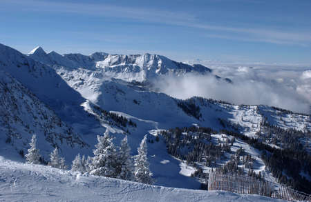 western slope: Spectacular view to the Mountains from Snowbird ski resort in Utah, USA