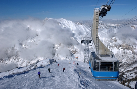 Spectacular view to the mountains and blue ski tram at Snowbird ski resort in Utah