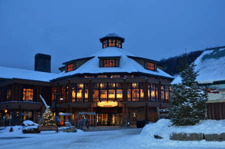 Base ski lodge in Stowe, VT at Chirstas time