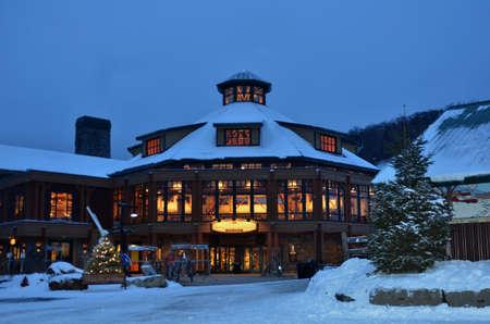 ski lodge: Base ski lodge in Stowe, VT at Chirstas time Editorial