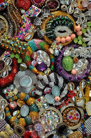 Various jewellery fashion accessories as background Stock Photo