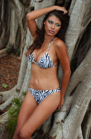 Outdoor portrait of a young beautiful african american girl wearing zebra animal print bikini with the tropical tree roots at background    photo