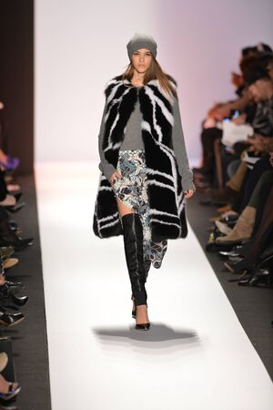 NEW YORK, NY- FEBRUARY 07: A Model walks the runway at the BCBG Max Azria Collection for FallWinter 2013  during Mercedes-Benz Fashion Week on February 07, 2013 in NYC.