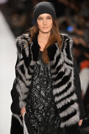 max: NEW YORK, NY- FEBRUARY 07: A Model walks the runway at the BCBG Max Azria Collection for FallWinter 2013  during Mercedes-Benz Fashion Week on February 07, 2013 in NYC.