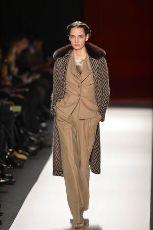 luxury goods: NUEVA YORK, NY - 11 de febrero: Un modelo camina la pista en el oto?o de Caroline Herrera espect?culo de la moda de invierno 2013 durante la Semana de la Moda Mercedes-Benz el 11 de febrero de 2013, Nueva York.